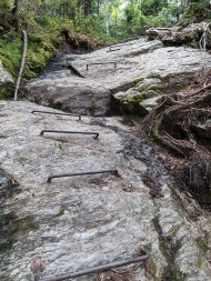 Ladders made from rebar on the descent to Appalachian Gap.