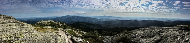 A panoramic view from the summit of Camel's Hump.