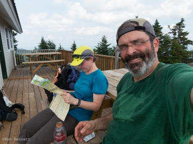 A selfie at the top of Madonna Peak, where we took a break at the ski patrol hut.