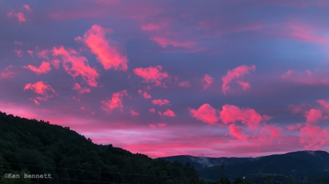 A wonderful sunset colors the sky west of our cabin.