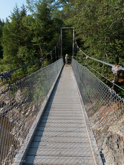 The suspension bridge over the Lamoille River.