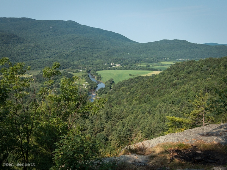 A view from Prospect Rock back into the Lamoille River valley.