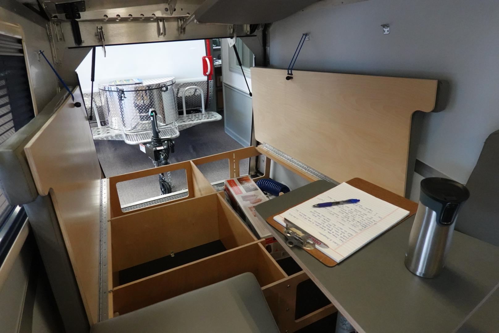 Interior of Taxa Cricket camping trailer.