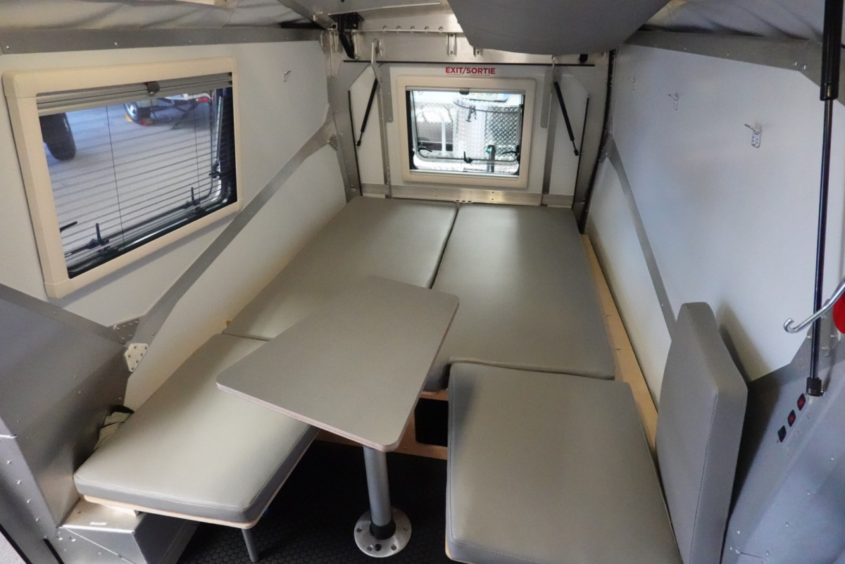Interior of Taxa Cricket camping trailer.