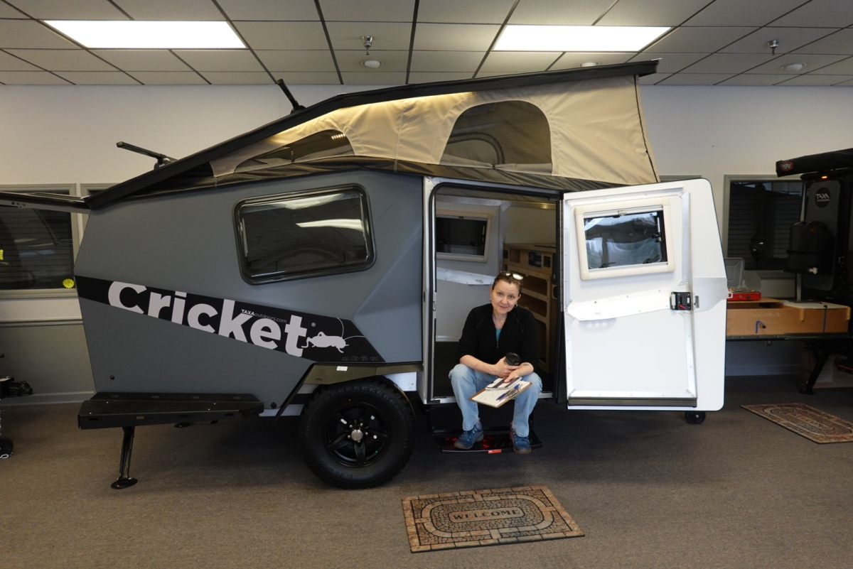 Exterior of Taxa Cricket camping trailer.