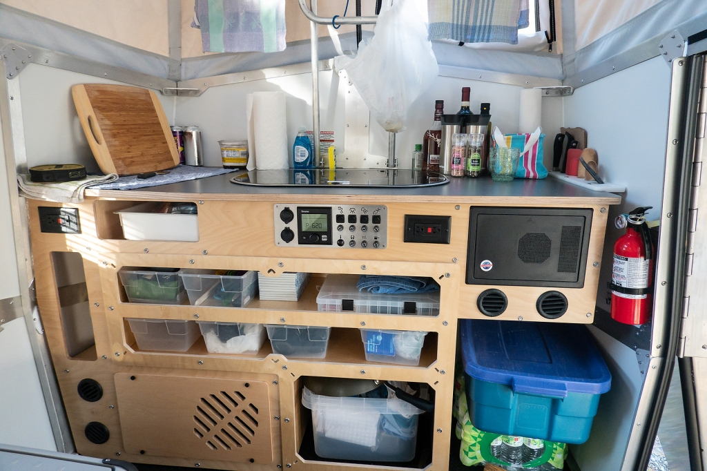 Storage in the kitchen area.