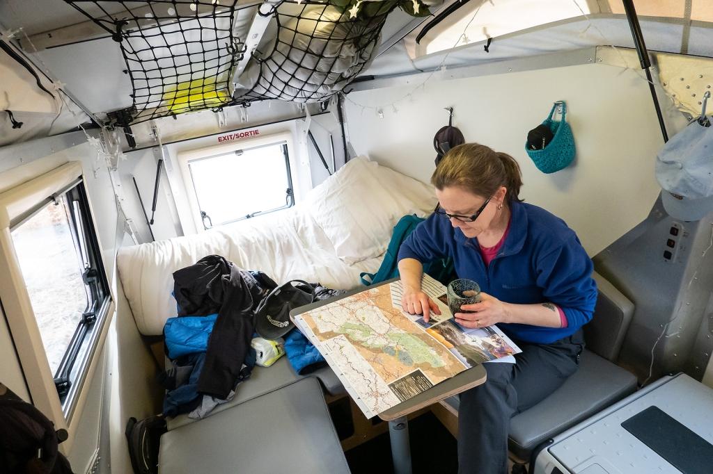 Living inside the camper.