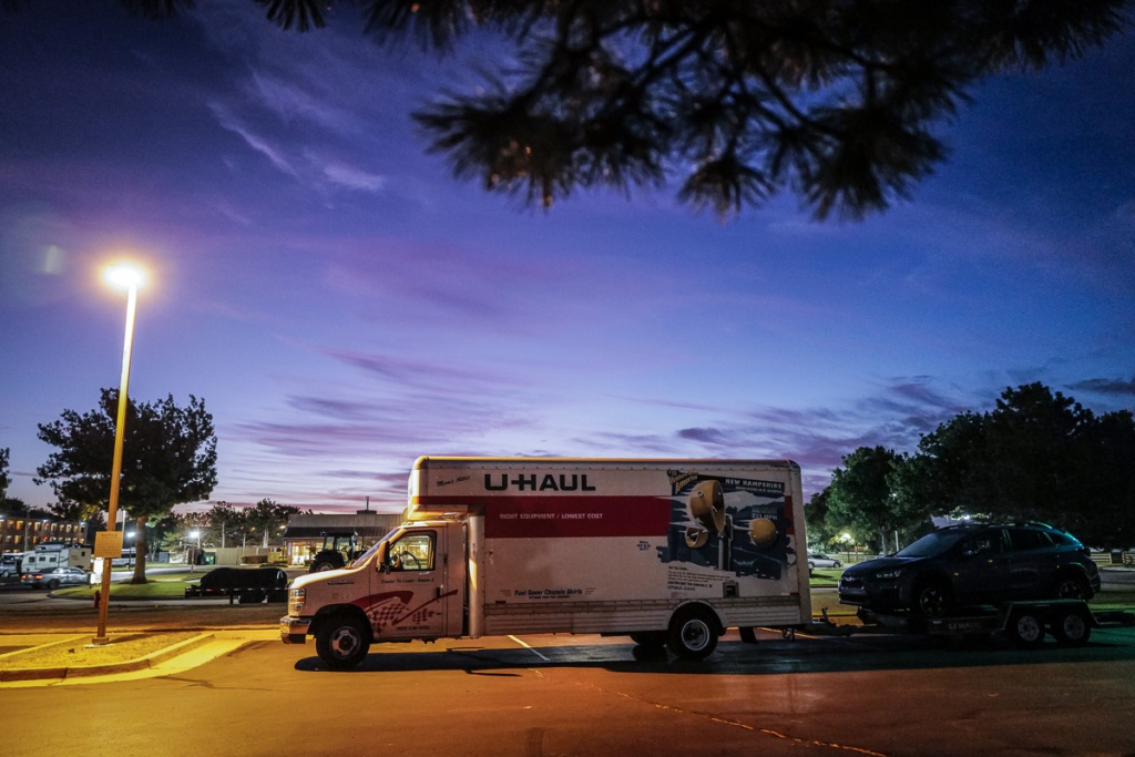 U-Haul Truck in Parking Lot at Dawn